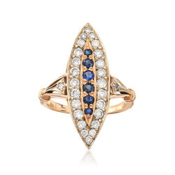 C. 1980 Vintage 1.20 ct. t.w. Diamond and .65 ct. t.w. Sapphire Navette Ring in 14kt Yellow Gold, , default