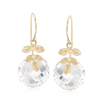 16mm Rock Crystal Drop Earrings in 14kt Yellow Gold, , default