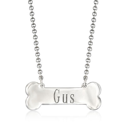 Personalized Dog Bone Rolo Chain Necklace in Sterling Silver, , default