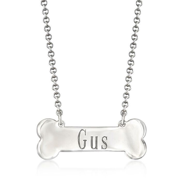 Personalized Dog Bone Necklace in Sterling Silver, , default