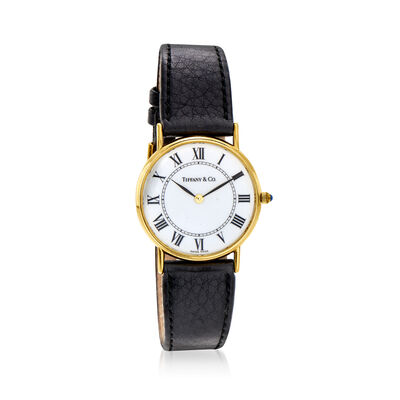C. 1980 Vintage Tiffany Jewelry 30mm 14kt Yellow Gold Watch with Black Leather Strap