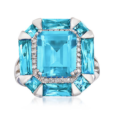 7.80 ct. t.w. Blue Topaz and .19 ct. t.w. Diamond Halo Ring in 14kt White Gold, , default