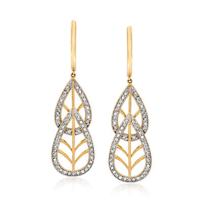 C. 1980 Vintage 1.25 ct. t.w. Diamond Double- Teardrop Earrings in 14kt Yellow Gold