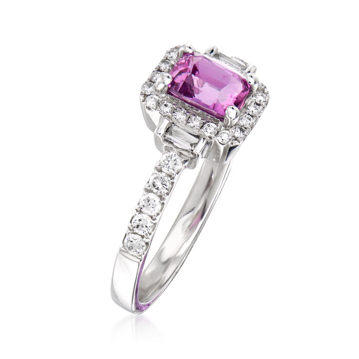 .80 Carat Pink Sapphire and .37 ct. t.w. Diamond Ring in 18kt White Gold