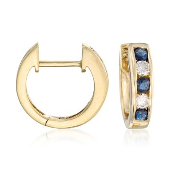 """.45 ct. t.w. Sapphire and .20 ct. t.w. Diamond Hoop Earrings in 14kt Yellow Gold. 3/8"""", , default"""