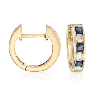 .45 ct. t.w. Sapphire and .20 ct. t.w. Diamond Hoop Earrings in 14kt Yellow Gold, , default