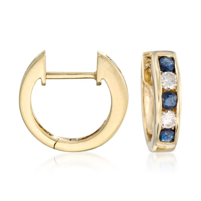 ".45 ct. t.w. Sapphire and .20 ct. t.w. Diamond Hoop Earrings in 14kt Yellow Gold. 3/8"", , default"