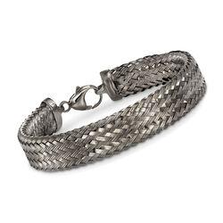 Italian Gunmetal Sterling Silver Woven Bracelet, , default
