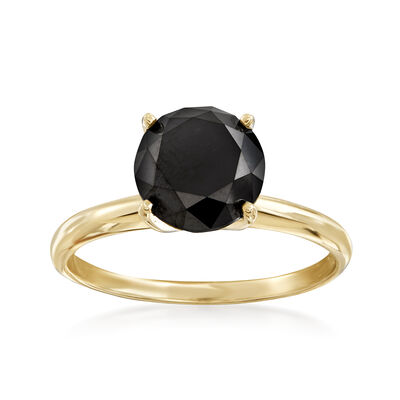 3.00 Carat Black Diamond Solitaire Ring in 14kt Yellow Gold, , default