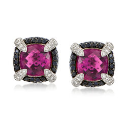 C. 2000 Vintage 18.50 ct. t.w. Pink Rhodolite and 2.15 ct. t.w. Sapphire Earrings With Diamonds in 18kt White Gold , , default