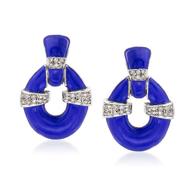 C. 1960 Vintage .65 ct. t.w. Diamond Doorknocker Clip-On Earrings with Blue Enamel in 18kt White Gold, , default