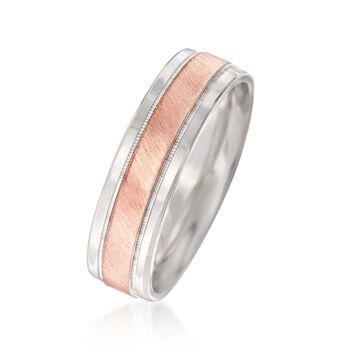 Men's 6.50mm 14kt Two-Tone Gold Wedding Ring, , default
