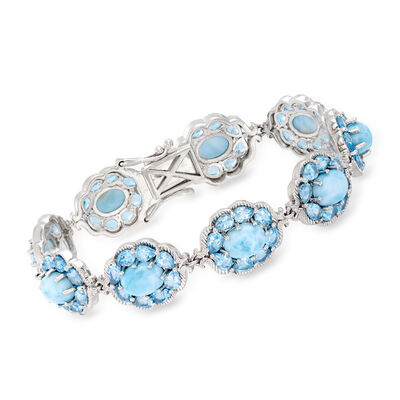 Larimar and 9.25 ct. t.w. Swiss Blue Topaz Bracelet in Sterling Silver