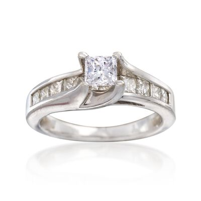 C. 2000 Vintage 1.30 ct. t.w. Princess-Cut Diamond Engagement Ring in 14kt White Gold, , default
