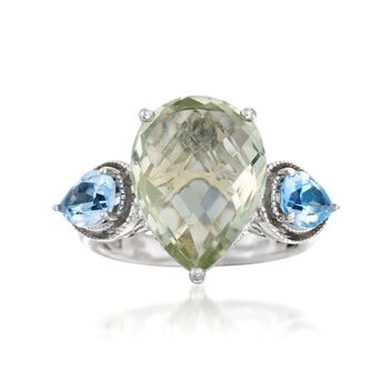 7.00 Carat Green Amethyst and 1.60 ct. t.w. Blue Topaz Ring in Sterling Silver, , default
