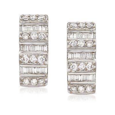 C. 1990 Vintage 1.07 ct. t.w. Round and Baguette Diamond J-Hoop Earrings in 14kt White Gold , , default