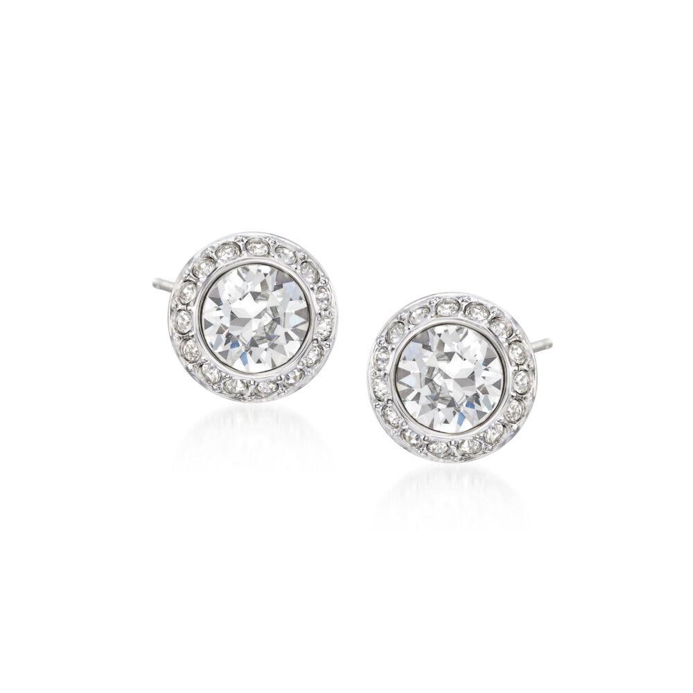 "5ca6362f3 Swarovski Crystal ""Angelic"" Crystal Halo Stud Earrings in  Silvertone, , default"