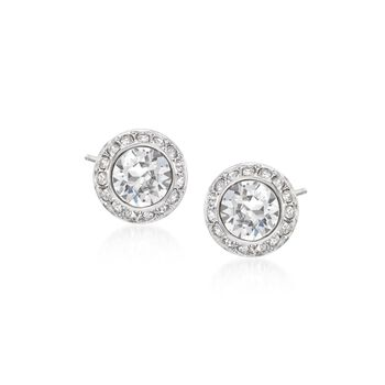 "Swarovski Crystal ""Angelic"" Crystal Halo Stud Earrings in Silvertone, , default"