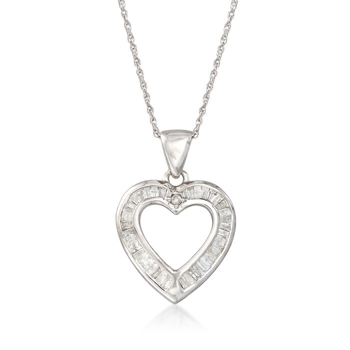 .25 ct. t.w. Diamond Open-Space Heart Pendant Necklace in Sterling Silver, , default