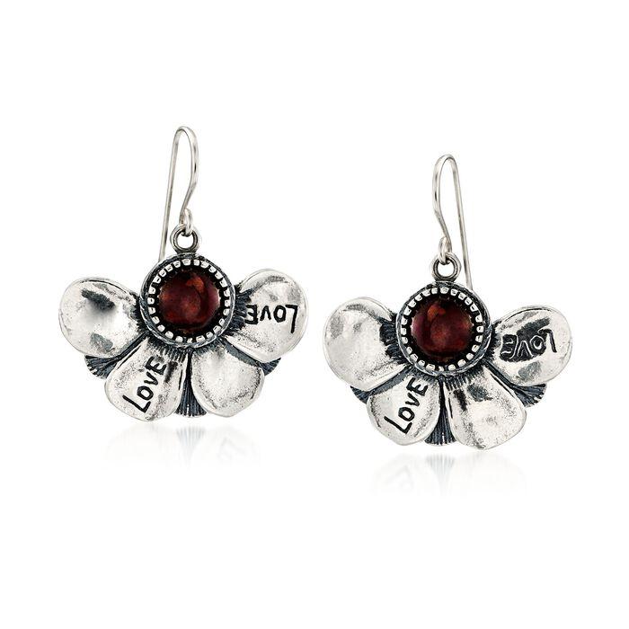 3.00 ct. t.w. Garnet Floral Drop Earrings in Sterling Silver