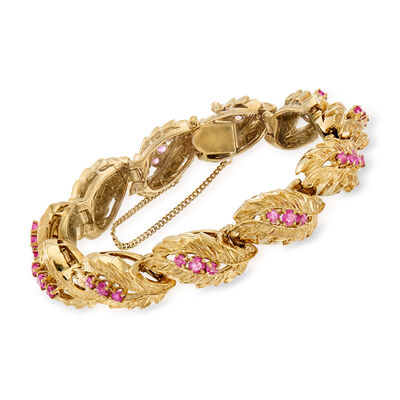 C. 1970 Vintage 3.00 ct. t.w. Ruby Leaf-Link Bracelet in 14kt Yellow Gold, , default