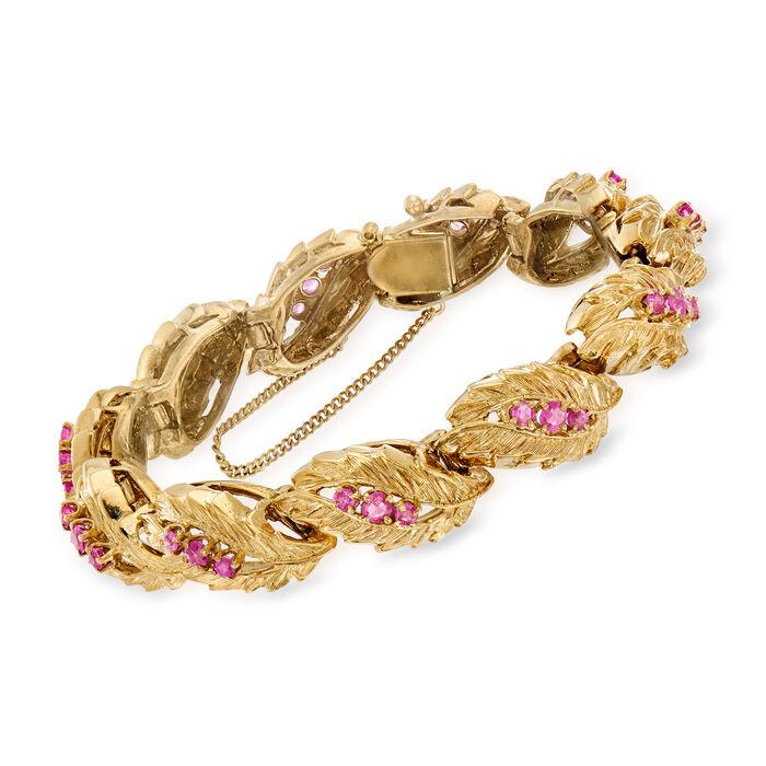 """C. 1970 Vintage 3.00 ct. t.w. Ruby Leaf-Link Bracelet in 14kt Yellow Gold. 7.5"""", , default"""