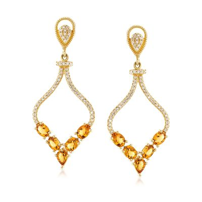 1.50 ct. t.w. Citrine and .32 ct. t.w. Diamond Drop Earrings in 14kt Yellow Gold, , default