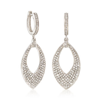 1.00 ct. t.w. Diamond Marquise Hoop Drop Earrings in 14kt White Gold, , default
