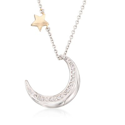 .20 ct. t.w. CZ Moon and Star Necklace With 14kt Yellow Gold in Sterling Silver, , default