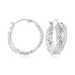 Sterling Silver Feather Hoop Earrings, , default