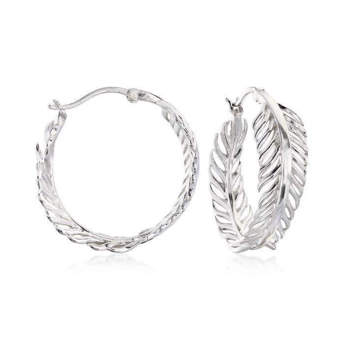 """Sterling Silver Feather Hoop Earrings. 1 1/8"""", , default"""