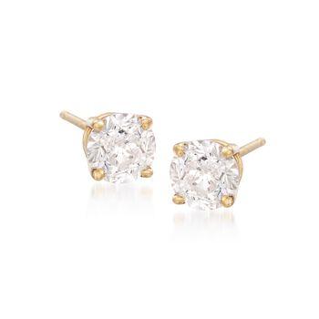 1.00 ct. t.w. CZ Stud Earrings in 18kt Yellow Gold, , default