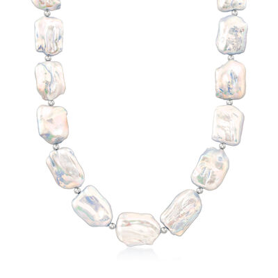 17-20mm Cultured Pearl Necklace in Sterling Silver, , default