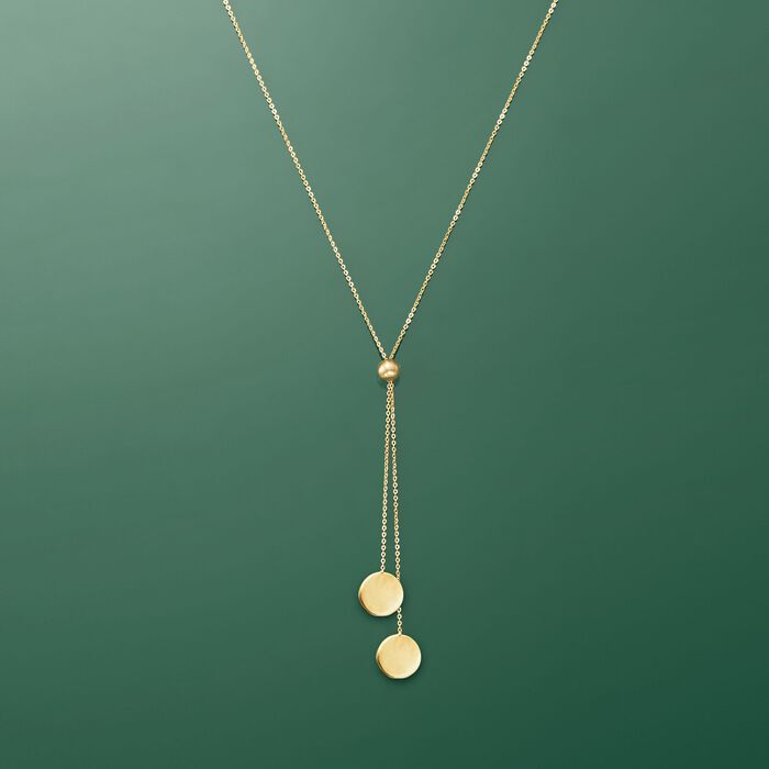 14kt Yellow Gold Lariat Disc Necklace