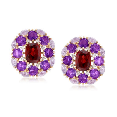 4.00 ct. t.w. Garnet, 5.80 ct. t.w. Amethyst and .11 ct. t.w. Diamond Earrings in 14kt Yellow Gold, , default