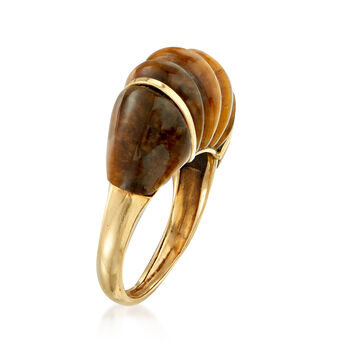 C. 1970 Vintage Tiger's Eye Ring in 14kt Yellow Gold. Size 5.5, , default