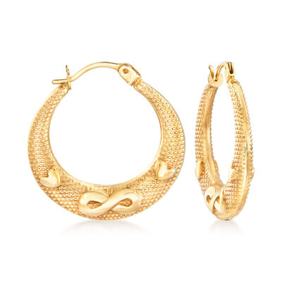 14kt Yellow Gold Heart and Infinity Symbol Hoop Earrings