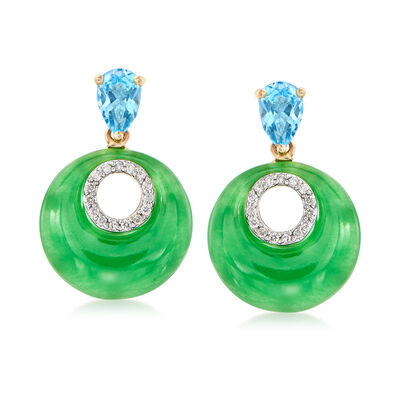 14x14 Green Jade and 1.10 ct. t.w. Blue Topaz Drop Earrings in 14kt Yellow Gold, , default