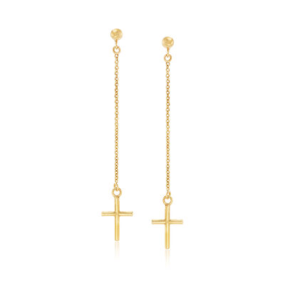 Italian Linear Drop Cross Earrings in 14kt Yellow Gold, , default