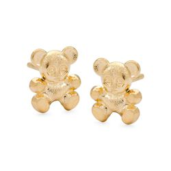 Child's 14kt Yellow Gold Teddy Bear Stud Earrings, , default