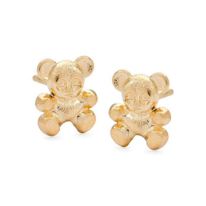 Child's 14kt Yellow Gold Teddy Bear Stud Earrings, , default