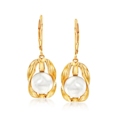 9-9.5mm Cultured Pearl Drop Earrings in 18kt Gold Over Sterling Silver