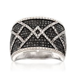 1.00 ct. t.w. Black and White Diamond Crisscross Ring in Sterling Silver, , default