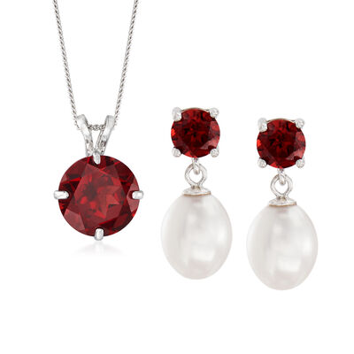 2.70 ct. t.w. Garnet and 7-7.5mm Cultured Pearl Jewlery Set: Earrings and Necklace in Sterling Silver, , default