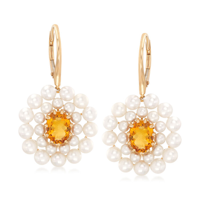 2-4mm Cultured Pearl and 2.20 ct. t.w. Citrine Drop Earrings in 14kt Yellow Gold, , default