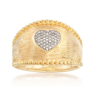 .10 ct. t.w. Diamond Heart Ring in 18kt Gold Over Sterling