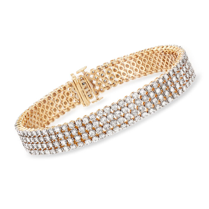 "7.00 ct. t.w. Diamond Multi-Row Bracelet in 14kt Yellow Gold. 7"", , default"