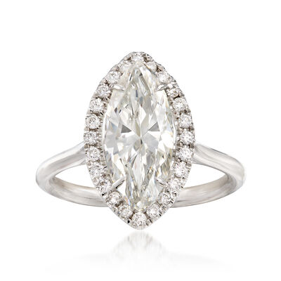 Majestic Collection 2.49 Carat Marquise Diamond and .24 ct. t.w. Diamond Halo Ring in 18kt White Gold, , default