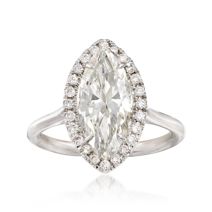 Majestic Collection 2.49 Carat Marquise Diamond and .24 ct. t.w. Diamond Halo Ring in 18kt White Gold. Size 6.5, , default