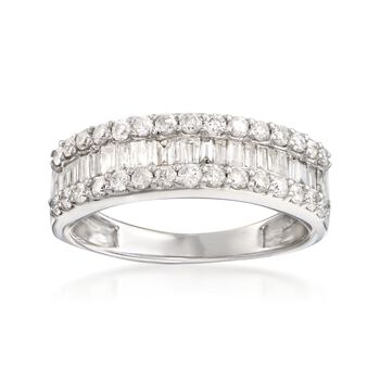 1.02 ct. t.w. Baguette and Round Diamond Three-Row Ring in 14kt White Gold, , default